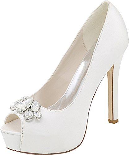3128 Salabobo White Toe Work Comfort Ladies Bridesmaid 01B Peep Pumps Dress Wedding Satin Party Platform Rhinestone Comfort Prom Bride rrfdHBWF