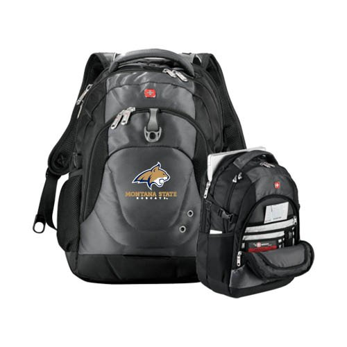 Montana State Wenger Swiss Army Tech Charcoal Compu Backpack 'Bobcat Head w/ Montana State Bobcats ()