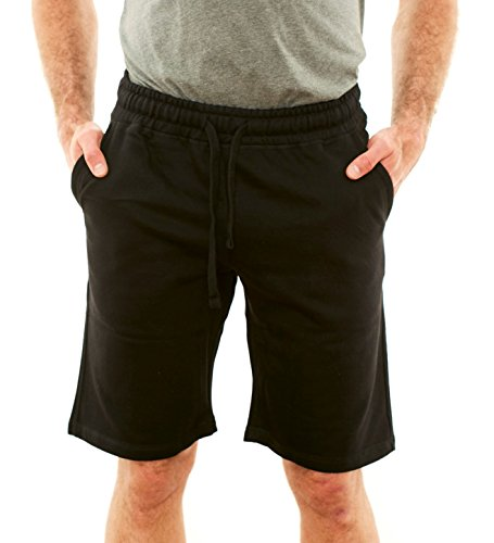 - Republic Blue Men's Casual Cotton Elastic Active Jogger Gym Shorts with Pockets - Deep Black, Large