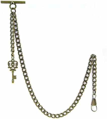 Albert Chain Pocket Watch Curb Link Chain Antique Brass Plating Key Fob T Bar AC15