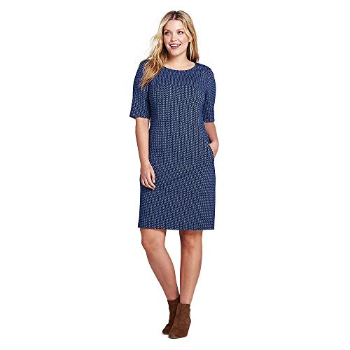 Print Ponte Knit Dress - Lands' End Women's Plus Size Ponte Knit Sheath Print Dress with Elbow Sleeves, 20W, Radiant Navy Geo