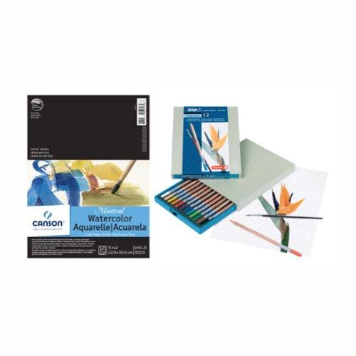Montval Watercolor Pad/Bruynzeel Pencil Set