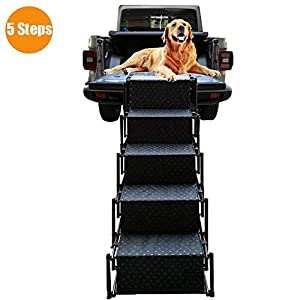 Pet Dog Car Step Stairs, Accordion Folding Pet Ramp for Indoor Outdoor Use, Lightweight Portable Auto Large Dog Ladder… Click on image for further info.