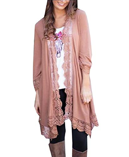 Jacket Long Knit Hem Pink XINHEO Autumn Cardigan Coat Lace Patchwork Women qxwzgI