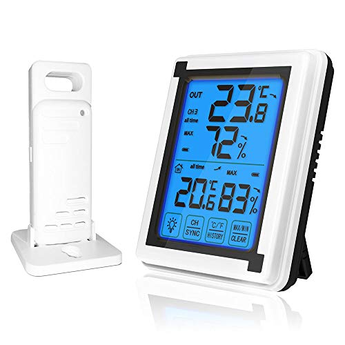- Konesky Digital Wireless Hygrometer Thermometer Indoor Outdoor with Jumbo Touchscreen and Backlight Temperature Humidity Monitor Weather Clock,197ft/60m Range