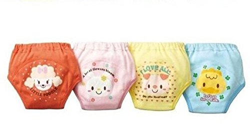 Losorn (Tm) Pack of 4 X Baby Toddler Girls Cute 4 Layers Potty Training Pants Reusable (100, A1) by Losorn