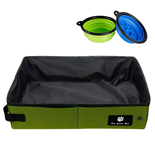 PETCEE Waterproof Cat Litter Box for Traveling is Convenient,Portable and Folding