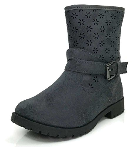 Osito Collection Girls Fashion Preforated Motorcycle Ankle Boots