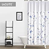 Bathroom Shower Window Curtains Lagute SnapHook (Hookless) Shower Curtain w/Snap-in Liner | Bathroom Curtain with Removable PEVA Liner [71''x74''] | Translucent See-Through Window, Waterproof and Anti-Mold Polyester Bathtub Curtain