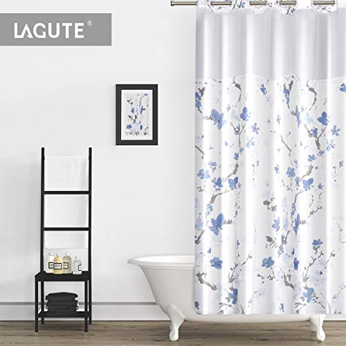 Lagute SnapHook Hookless Shower Curtain with Snap-in Liner | Bathroom Curtain with Removable PEVA Liner [71''x74''] | Waterproof Polyester Bathtub Curtain (Blue Blossom)