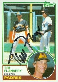 Tim Flannery Autographed Baseball Card San Diego Padres 1983 Topps