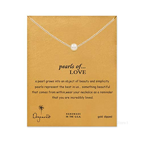 LANG XUAN Friendship Pearl Necklace Lucky Elephant Star Pearl Circle Pendant Necklace for Women Gift Card (Pearl Silver)