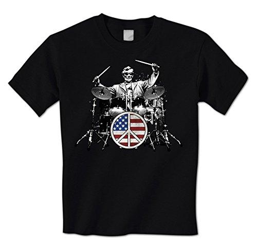 Abraham Lincoln - American Drummer Peace Sign Drum Set Rock Mens T-Shirt XL Black