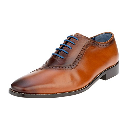 Liberty Men's Genuine Handmade Finest Leather with Burnished Toe - Lace up Oxford Dress Shoes (Brown Burnished Oxford)