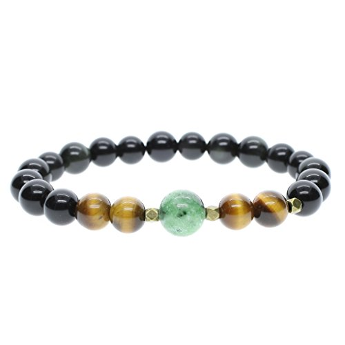 AmorWing Black Obsidian and Tiger Eye Semi-Precious Stretch Bracelet for Men & Women Prayer Mala Bracelet 8mm S