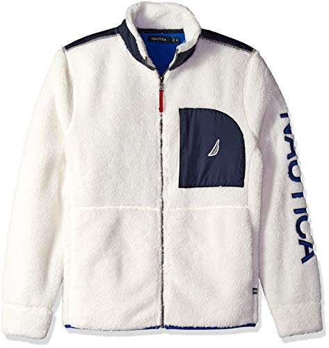 Nautica Men's Long Sleeve Full Zip Front Sherpa Jacket, Marshmallow, XX-Large (Nautica Sweater Men)