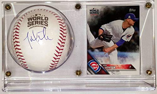 (Jon Lester Signed 2016 OML World Series Baseball & Topps World Series Champions Card - JSA COA Authenticated & Ultra Pro Display Case)