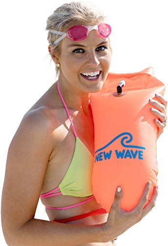 - New Wave Swim Buoy - Swim Safety Float and Drybag for Open Water Swimmers, Triathletes, Kayakers and Snorkelers, Highly Visible Buoy Float for Safe Swim Training (Orange PVC Medium-15L)
