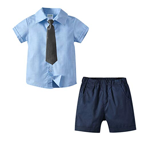 Designer Sleeves 14' Pc - Lanhui Boy Kids Gentleman T-Shirt Tops+Shorts+Tie 3 Pcs Solid Color Set Party School Outfits Light Blue