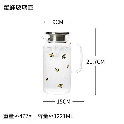 Home High Borosilicate Heat-Resistant Bee Glass Kettle Cold Kettle Bee Pattern Fresh Natural 1221Ml