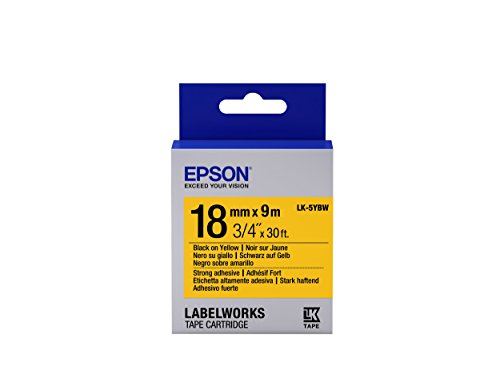 "Epson LabelWorks Strong Adhesive LK (Replaces LC) Tape Cartridge ~3/4"" Black on Yellow (LK-5YBW) - For use with LabelWorks LW-400, LW-600P and LW-700 label printers"