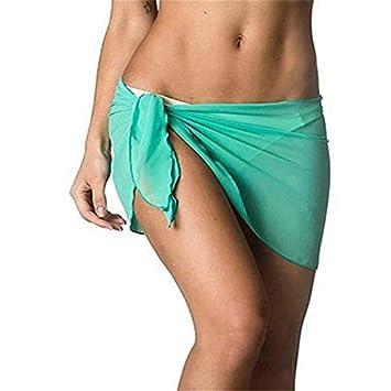 6f7cb295bb071 STWQSJL Mujer Chifón Falda de Playa Cubrir Abrigo Bufanda Desgaste de Nadar  Vestido de Sarong Un Tamaño Verde Ropa de Playa Cubrir Bufanda Sarong de  algodón ...