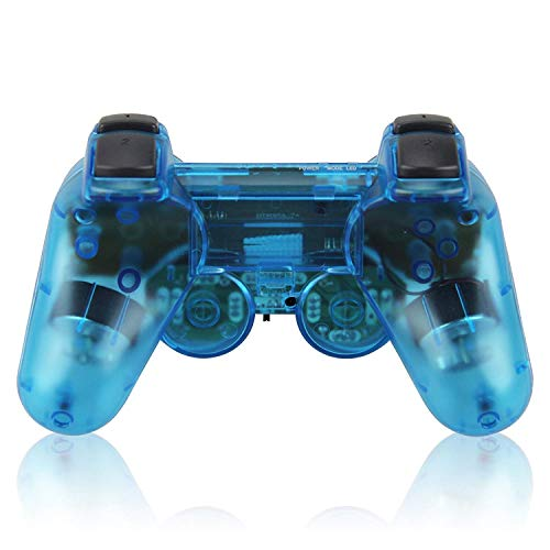 Saloke Wireless Controller for PS2 Playstation 2 Dual Shock(Pack of 2,ClearBlue and ClearBlue)