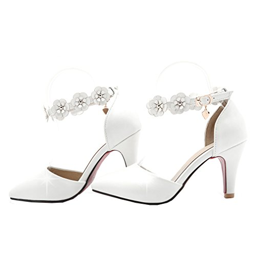 YE Women Pointed Toe Stilleto High Heel Sweet Ankle Strap Court Shoes Candy Color Pumps with Flowers White ASjqwLv
