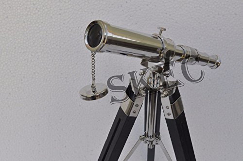 10'' Solid Brass Chrome Telescope with Tripod Stand Decorative Collectible Decor by AAYAT NAUTICAL