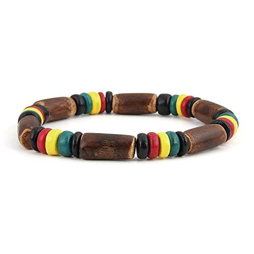 JewelryVolt Rasta Bracelet Brown Coco Elastic for Men Single Strand with Rasta and Black Beads - Rasta