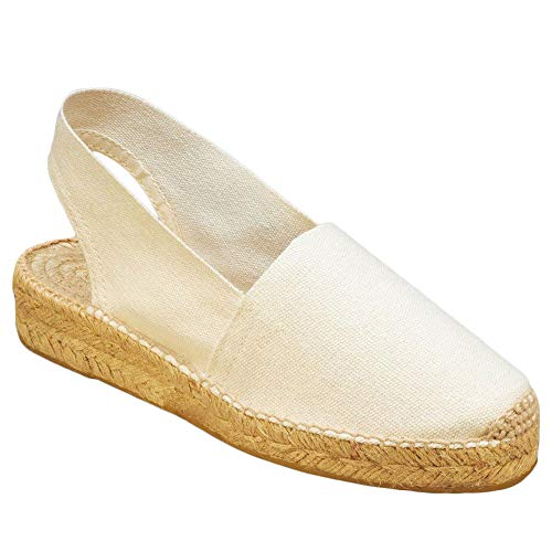Womens Slip On Platform Espadrille Sandals Closed Toe Slingback Flat Casual Walking Shoes White