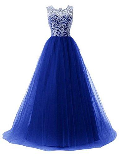 Lang Kleider A Tüll Elegant Abendkleider Line Damen Blue Bainjinbai Royal Festkleider Brautmutter 5pxqwHt0