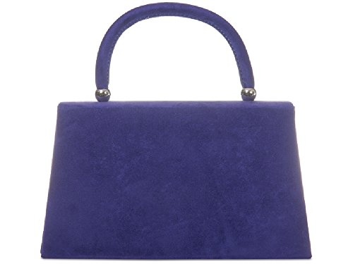 Ladies Suede Black Clutch Kw304 Party Evening Bag Purse Women's Handbag Box Structured BPRrwB