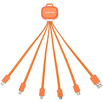 【Only Micro Support Sync Data】Chafon Upgraded 6 in 1 Multi Charger Cable with USB C/8 Pin Lightning /Micro USB/ Mini USB Ports for iPhone 7Plus,7,iPad,Nexus 6P Type C Devices and More-Orange