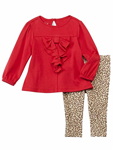 Red And Cheetah Outfits (Infant Girls Baby Outfit Red Ruffle Shirt & Brown Leopard Print Leggings)