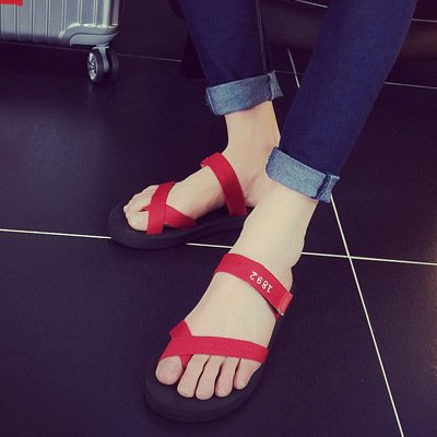 Xing Lin Sandalias De Hombre Verano Nuevo Conjunto De Hombres Y Mujeres Chanclas Antideslizantes Sandalias Planas Zapatillas Zapatillas De Playa Pies red