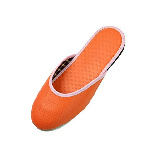 Leisure Slippers Indoor Cozy Shoes Women's Leather JUIOKK Non Sandals Flat Slip Orange Outdoor BXZYAwxq