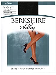 Berkshire Women's Plus-size Queen Silky Sheer Control Top Pantyhose 4489, Fantasy Black, 1x-2x