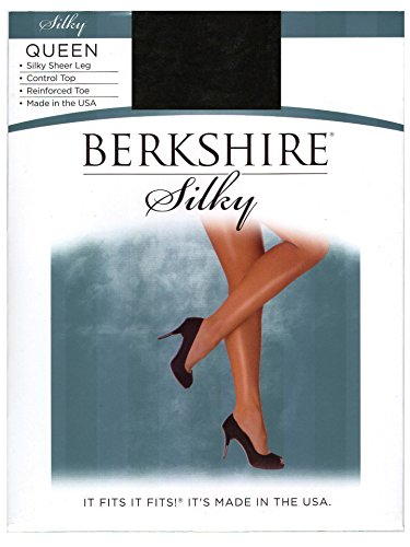 (Berkshire Women's Plus-Size Queen Silky Sheer Control Top Pantyhose 4489, Fantasy Black, QP)