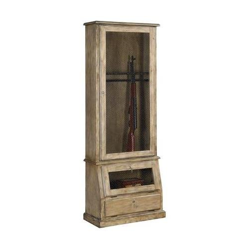 """Acme Furniture Russel 90216 29"""" Gun Cabinet with 2 Doors 1 Drawer Pine Wood Construction Lock and Key Feature in Ash Oak"""