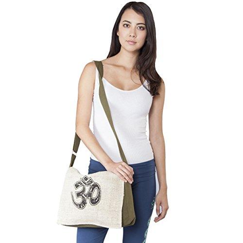 Hempcotton-om-peace-messenger-purse-bag-Green-One-Size