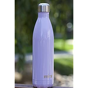 MIRA Stainless Steel Vacuum Insulated Water Bottle | Leak-proof Double Walled Cola Shape Bottle | Keeps Drinks Cold for 24 hours & Hot for 12 hours (Lavender Violet, 17 oz (500 ml, 0.53 qt))