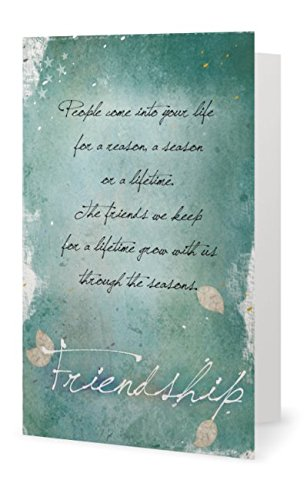 "Smiling Wisdom Silver Leaf Friendship Gift Set - Reason Season Lifetime Friendship Greeting Card - Sweater Necklace Leaf Pendant Sentiment - For Good or Best Friend - Pendant: 2.25x1.5, 24"" Chain"