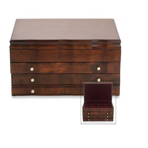Athena Jewelry Chest - Reed & Barton Athena Jewelry Box - Mahogany/Dior RED