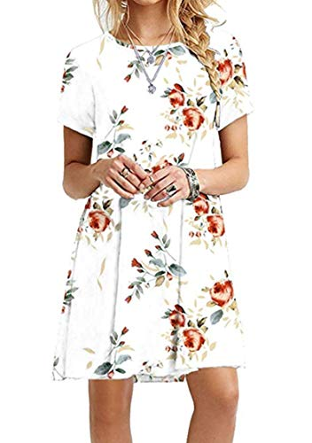 YMING Women's Casual Loose Dresses Flowy Mini Dress Short Sleeve Shirt Dresses White Flower - Dress Holiday Plaid