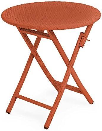 Plow Hearth 39014-OR Tangier Wicker Outdoor Folding Bistro Table, Orange