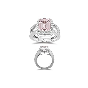 1.00 Ct Diamond & 2.65 Cts of 10x8 mm AAA Morganite Ring in 14K White Gold-5.5