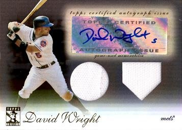 2009 Topps Tribute Dual Relics #TDAR-DW2 David Wright Autograph Game Worn Jersey Baseball Card - Only 50 made!