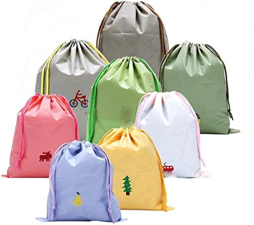 icoXXch 8pcs Waterproof Drawstring Storage Bag - Pouch Bag for Outdoor Sport Travel Camping Gym Home Swimming Essential Storage Use, Durable Nylon Fiber