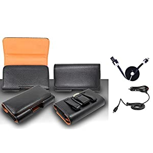 Premium Black Pebble Texture Leather Design Horizontal Leather Belt Case Clip Holster Pouch Cover Suitable For Samsung Galaxy Prevail LTE (Fit for Single Phone With Thin Case or Back Cover Together) + Car Charger + 1 of 1M/3Feet Stylish Micro USB To USB 2.0 Data Sync Charger Flat Cable